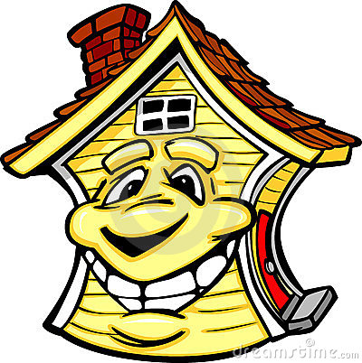 Happy Yellow House with Smiling Face Cartoon