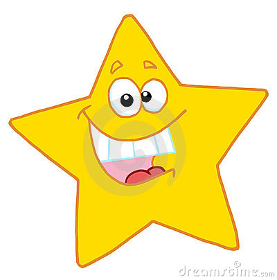 Happy yellow star smiling