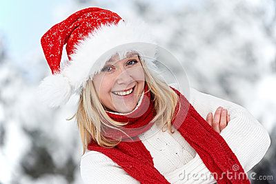 Happy young adult woman at winter