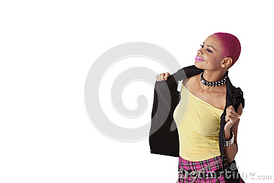 Happy young African American woman posing over white background