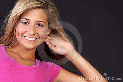Happy young blond teen