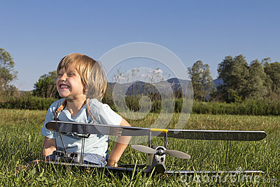 Happy Young boy and his new RC plane