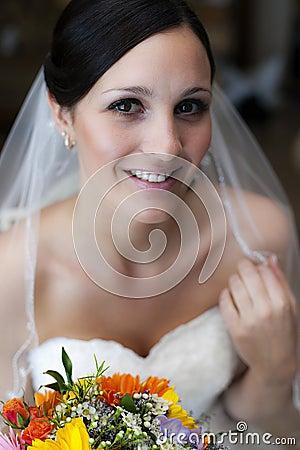 Happy young bride face
