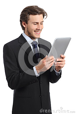 Free Happy Young Business Man Reading A Tablet Reader Royalty Free Stock Image - 50891486