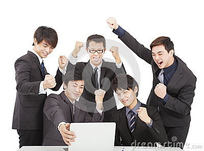 Happy young business team
