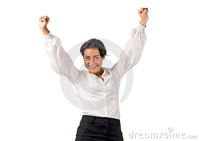Happy young business woman with hands up
