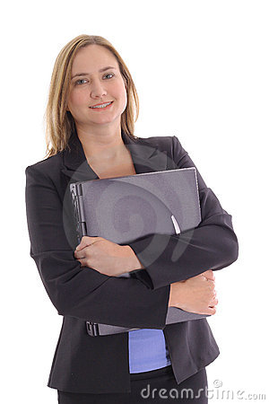 Happy young business woman holding laptop