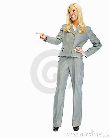 Happy young business woman pointing away