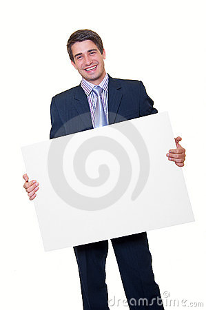 Happy young businessman holding blank white card