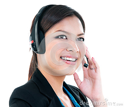 Cute Businesswoman With Headset