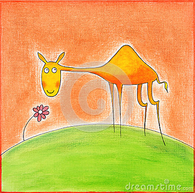 Happy young camel, child s drawing, watercolor painting