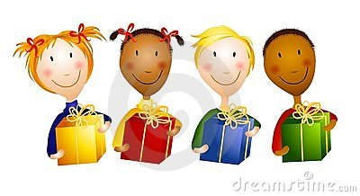 Happy Young Children Holding Gifts Royalty Free Stock Photo ...