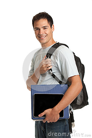 Happy Young College Student Holding Tablet