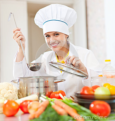 Free Happy Young Cook Tests Vegetarian Food Royalty Free Stock Photo - 35290685