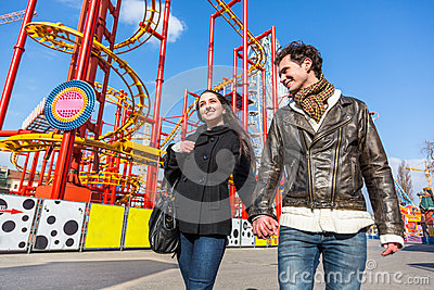 Couple at Amusement Park