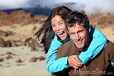 Happy young couple in autumn nature