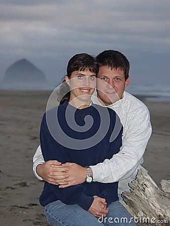 Happy regular ordinary Couple On The Beach