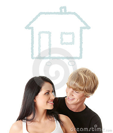 Happy young couple dreaming about their new home