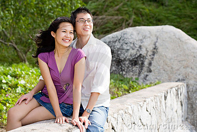 Happy young couple enjoying the scenery
