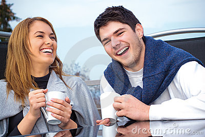 Happy Young couple having fun outside