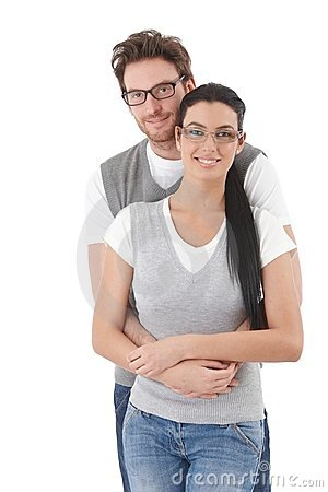 Happy young couple hugging each other Stock Photo