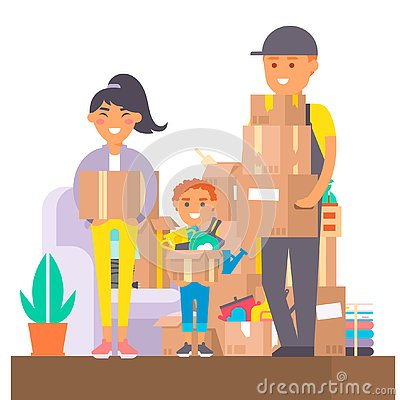 Free Happy Young Couple Vector Flat People Moving In New House Movement Apartment Together. Happy Young Couple Moving Service Stock Photography - 128544022
