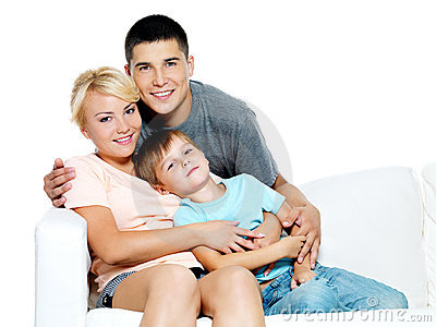 Happy young family with kid