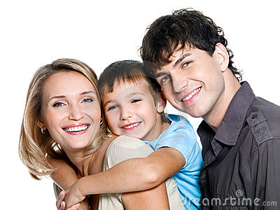 Happy young family with son