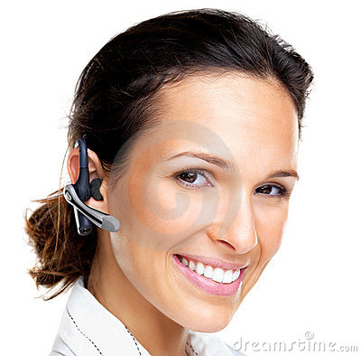 Happy young female with a bluetooth handsfree