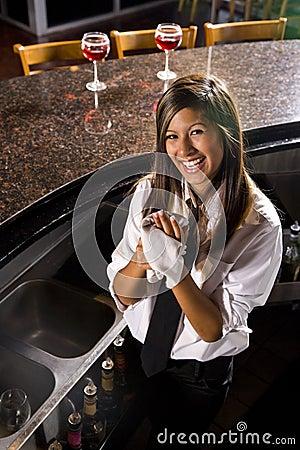 Free Happy Young Female Hispanic Bartender Stock Photo - 10530370