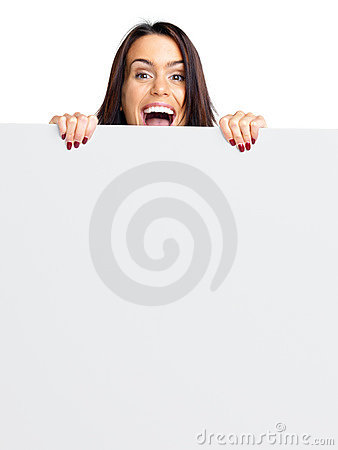 Happy young female holding a blank bill board