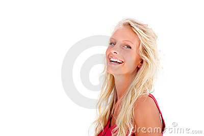 Happy young female laughing on white background