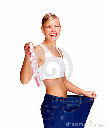 Happy young female after losing weight