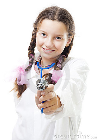 Free Happy Young Girl Play Doctor Holding Stethoscope Royalty Free Stock Images - 11241589