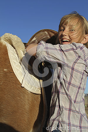 Happy Young Girl and Pony