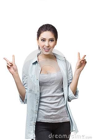Free Happy Young Japanese Girl Showing Victory Sign Isolated On Blue Background. Royalty Free Stock Photo - 74853065