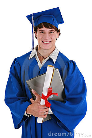 Happy Young Male Graduate Holding Laptop