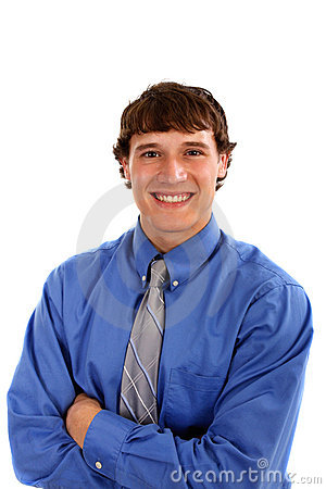 Happy Young Man with Blue Shirt and Tie