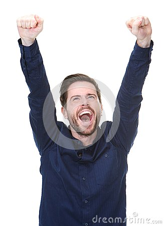 Free Happy Young Man Celebrating With Arms Raised Stock Images - 34657154
