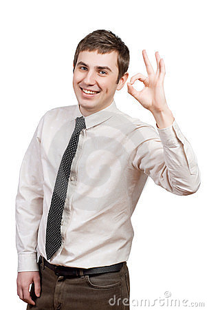 Happy young man doing the ok sign