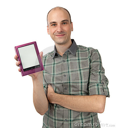 Happy young man holding E-book