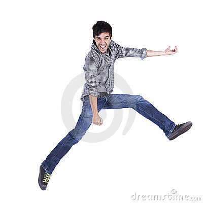 Happy young man jump