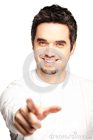 Happy Young Man Pointing At You, White Background