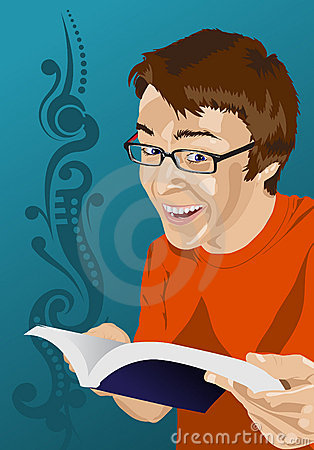 Happy young man reading