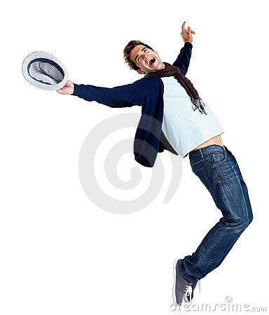 Happy young man showing dance moves on white