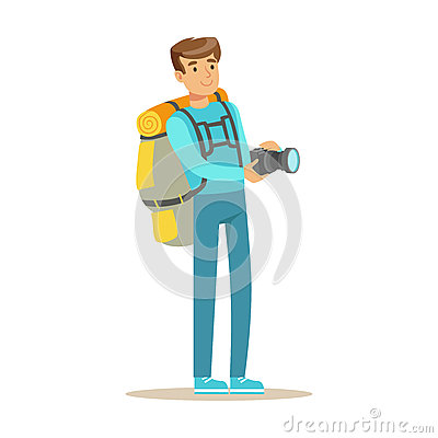 Happy young man standing with backpack and holding flashlight. Colorful cartoon character vector Illustration Vector Illustration