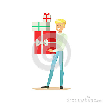 Happy young man standing and holding gift boxes colorful character vector Illustration Vector Illustration