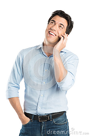 Free Happy Young Man Talking On Cell Phone Stock Photography - 32224792