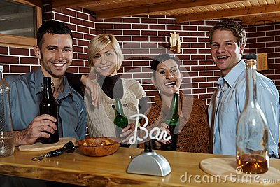 Happy young people in bar