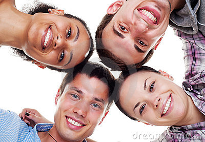 Happy young people in circle